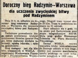 Doroczny bieg Radzymin--Warszawa - wycinek prasowy z 1938r.