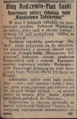 Bieg Radzymin - Plac saski - wycinek prasowy